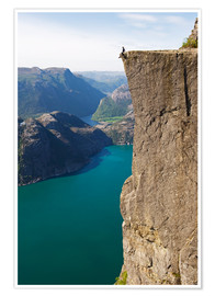 Premium poster  Man sitting on Pulpit Rock, Lysefjord - Christian Kober