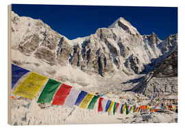 Wood print  Prayer flags at the case camp of Mount Everest - Christian Kober