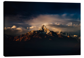 Canvas  Machapuchare (Machhapuchhre) (Fish Tail) mountain, in the Annapurna Himal of north central Nepal, Ne - Mark Chivers