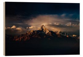 Wood print  Machapuchare (Machhapuchhre) (Fish Tail) mountain, in the Annapurna Himal of north central Nepal, Ne - Mark Chivers