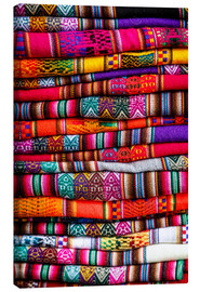 Canvas  Woven blankets at a market, Cuzco - Yadid Levy