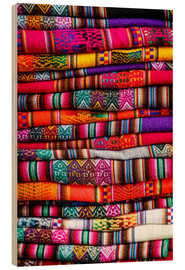 Wood print  Woven blankets at a market, Cuzco - Yadid Levy