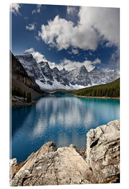 Acrylic glass  Moraine Lake in the fall with fresh snow, Banff National Park, UNESCO World Heritage Site, Alberta,  - James Hager