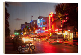 Wood print  Ocean Drive, South Beach, Art Deco district, Miami Beach, Miami, Florida, United States of America, - Angelo Cavalli