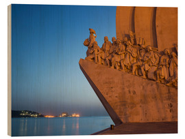 Wood print  Monument to Discoveries, Belem, Lisbon, Portugal, Europe - Angelo Cavalli