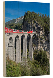 Wood print  Landwasser Viadukt, Filisur, Graubunden, Swiss Alps, Switzerland, Europe - Angelo Cavalli