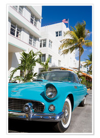 Premium poster Avalon Hotel and classic car on South Beach, City of Miami Beach, Florida, United States of America,