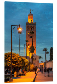 Acrylic print  The Minaret of Koutoubia Mosque illuminated at night, UNESCO World Heritage Site, Marrakech, Morocco - Martin Child
