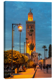 Canvas  The Minaret of Koutoubia Mosque illuminated at night, UNESCO World Heritage Site, Marrakech, Morocco - Martin Child