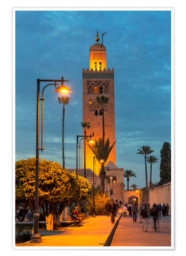 The Minaret Of Koutoubia Mosque Illuminated At Night Unesco World Heritage Site Marrakech Morocco Posters And Prints Posterlounge Co Uk