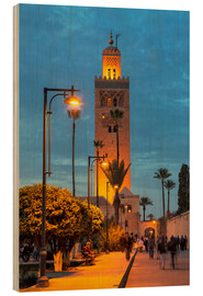 Wood print  The Minaret of Koutoubia Mosque illuminated at night, UNESCO World Heritage Site, Marrakech, Morocco - Martin Child