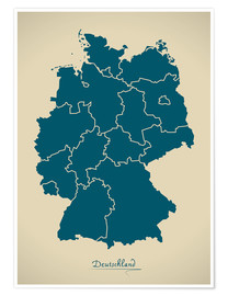 Premium poster  Modern map of Germany Artwork Design - Ingo Menhard