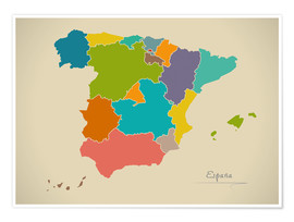 Premium poster Modern Map of Spain Artwork Design