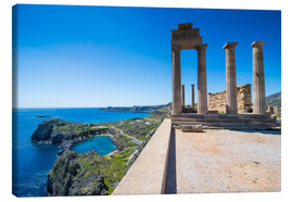 Canvas  Acropolis of Lindos, Rhodes, Dodecanese Islands, Greek Islands, Greece, Europe - Michael Runkel