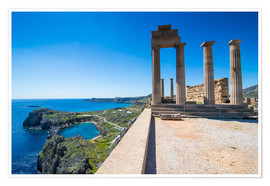 Premium poster Acropolis of Lindos, Rhodes, Dodecanese Islands, Greek Islands, Greece, Europe