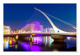Premium poster Samuel Beckett Bridge and the Convention Centre Dublin, River Liffey, Dublin, County Dublin, Republi