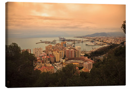 Canvas print  High angle view of Malaga cityscape with bullring and docks - Ian Egner