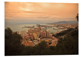 Foam board print  High angle view of Malaga cityscape with bullring and docks - Ian Egner