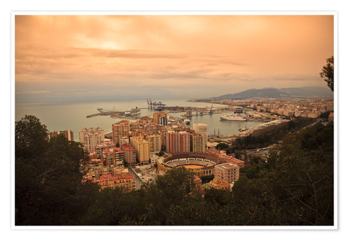 Premium poster High angle view of Malaga cityscape with bullring and docks