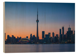 Wood print  View of CN Tower and city skyline, Toronto, Ontario, Canada, North America - Jane Sweeney