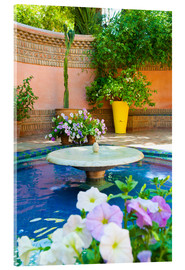 Acrylic print  Fountain and flowers in the Majorelle Gardens (Gardens of Yves Saint-Laurent), Marrakech, Morocco, N - Matthew Williams-Ellis