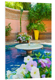 Forex  Fountain and flowers in the Majorelle Gardens (Gardens of Yves Saint-Laurent), Marrakech, Morocco, N - Matthew Williams-Ellis