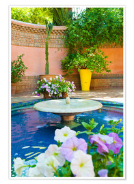 Premium poster  Fountain and flowers in the Majorelle Gardens (Gardens of Yves Saint-Laurent), Marrakech, Morocco, N - Matthew Williams-Ellis