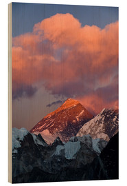 Wood print  Mount Everest & Mount Lhotse