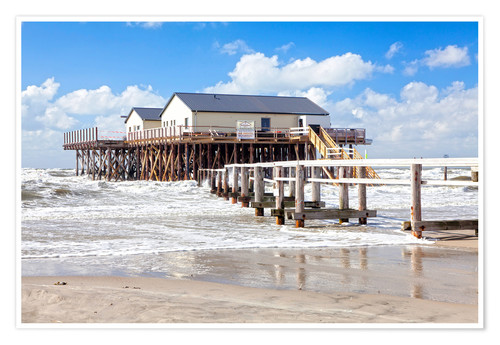 Premium poster Stilt houses in the stormy sea
