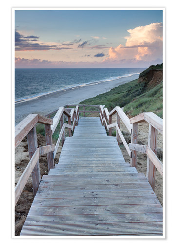 Poster Stairs down to the beach, Sylt