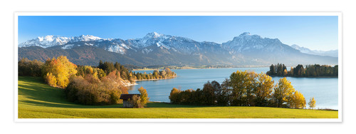 Premium poster Lake Forggensee and the Alps