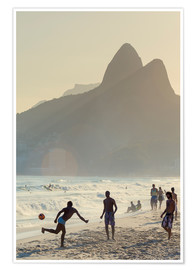 Premium poster Locals playing football on Ipanema