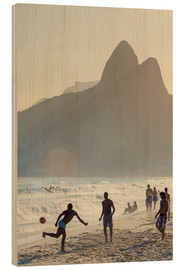 Wood print  Locals playing football on Ipanema - Alex Robinson