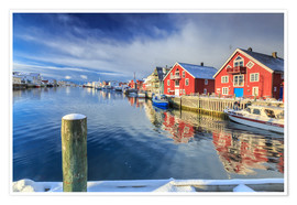 Premium poster colorful fisherman houses in Norway
