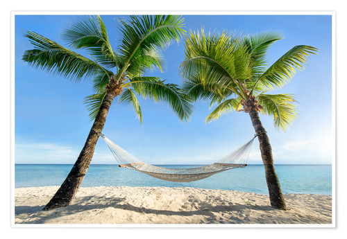 Premium poster Hammock at the beach in the south pacific