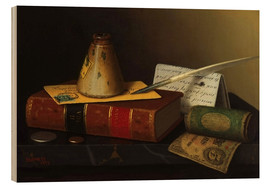 Wood print  Still life with a writing table - William Michael Harnett