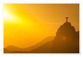 Premium poster View from the Sugarloaf of Christ the Redeemer statue on Corcovado, Rio de Janeiro, Brazil, South Am