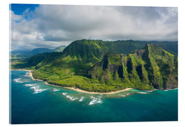 Acrylic print  Aerial of the Napali coast, Kauai, Hawaii, United States of America, Pacific - Michael Runkel