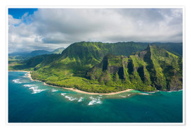 Premium poster Aerial of the Napali coast, Kauai, Hawaii, United States of America, Pacific
