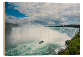Wood print  Tourist boat in the mist of the Horseshoe Falls (Canadian Falls), Niagara Falls, Ontario, Canada, No - Michael Runkel
