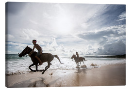 Canvas print  Children riding on the beach, Nihiwatu - James Morgan