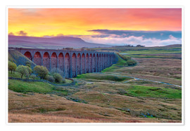 Alan Copson - Pen-y-ghent and Ribblehead Viaduct on Settle to Carlisle Railway, Yorkshire Dales National Park, Nor