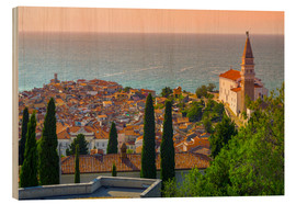 Wood print  Old Town view with Church of St. George (Cerkev sv. Jurija), Piran, Primorska, Slovenian Istria, Slo - Alan Copson