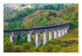 Premium poster  Train on the Glenfinnan Railway Viaduct, part of the West Highland Line, Glenfinnan, Loch Shiel, Hig - Alan Copson