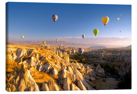 Canvas  Hot air balloons over Cappadocia - David Clapp