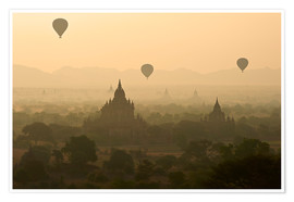Premium poster  Hot air balloons above Bagan - Tuul