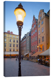 Canvas print  Stortorget Square cafes at dusk, Gamla Stan, Stockholm, Sweden, Scandinavia, Europe - Frank Fell