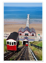 Poster Cliff Tramway and the Pier at Saltburn by the Sea, Redcar and Cleveland, North Yorkshire, Yorkshire,