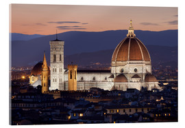 Acrylic glass  Duomo at night from Piazza Michelangelo, Florence, UNESCO World Heritage Site, Tuscany, Italy, Europ - Stuart Black