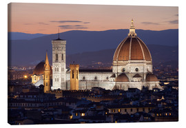 Canvas print  Duomo at night from Piazza Michelangelo, Florence, UNESCO World Heritage Site, Tuscany, Italy, Europ - Stuart Black